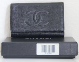 Chanel Key Chain black leather