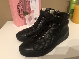 Chanel High Top Sneaker black leather