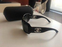 Chanel Hoekige zonnebril zwart-zilver