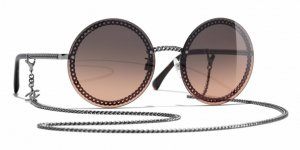 Chanel Round Sunglasses grey-brown red