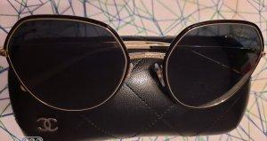 Chanel Kwadratowe okulary przeciwsłoneczne czarny-złoto