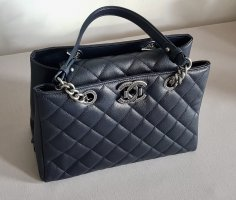 Chanel Carry Bag dark blue-silver-colored leather