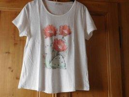 CHEER: leichtes Damenshirt weiß, Blumendruck, leicht strukturiertes Flammgarn