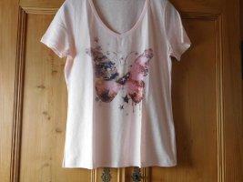 CHEER: NEUES Shirt mit Schmetterlings-Druckmotiv und schimmernden Steinchen, rosa, Gr. 42