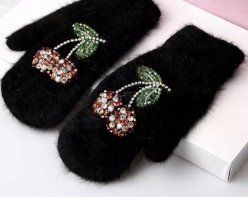 Pessina-Jewelry Fur Gloves black