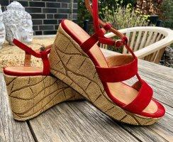 Chie Mihara, Designer Wedges, Sandale, Leder, rot, Gr. 38,5