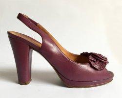 Chie Mihara Peep Toe Pumps purple leather