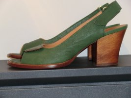 Chie Mihara Peep Toe Pumps green leather