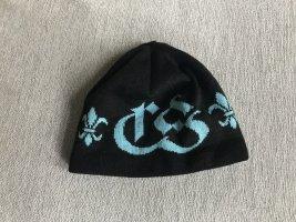 Chiemsee Mütze in Schwarz mit Brand Emblem in Türkis