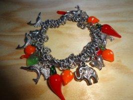 Chili Armband stretch Ibiza Hippie Schwertfisch Glasanhänger silberfarben