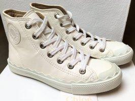 Chloé Basket montante blanc cassé-beige clair cuir