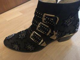 Chloé Botas con cremallera negro-color oro