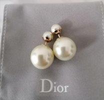 Christian Dior Pendientes de perlas blanco-color oro metal