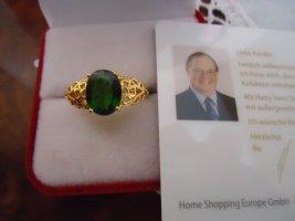 Chromdiopsid Ring Siber vergoldet