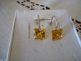 Silver Earrings dark yellow