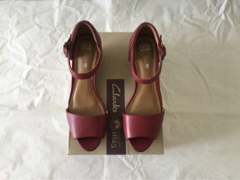 Clarks Wedge Sandals carmine leather