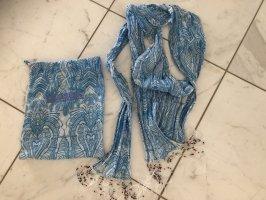 Closed Écharpe à franges bleuet-blanc coton