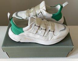 Closed Basket hook-and-loop fastener blanc-vert tissu mixte