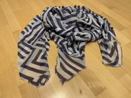 Closed Fringed Scarf natural white-dark blue