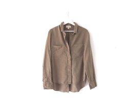 Cloth & Stone Bluse Gr. L 38 40 khaki Vokuhila Brusttaschen