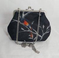 Clutch mit Kette, Handtasche, schwarz, Vögel