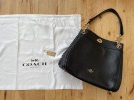 Coach Shoulder Bag black-gold-colored leather
