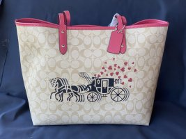 Coach Reversible City Tote in Signature Canvas with Horse and Carriage Hearts *NEW*