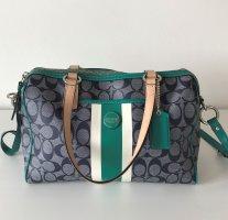 Coach Signature Stripe Satchel 24362 Damen Tasche Canvas Shopper Tote Crossbody