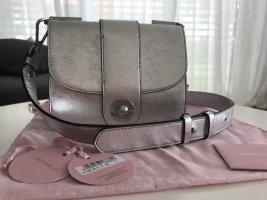 Coccinelle Leila Glitter Satchel Bag Silver UVP 355€