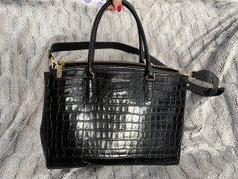 Coccinelle Tasche Leder in Krokooptik schwarz mit goldenen Details