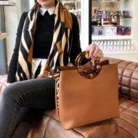 Cognac Farbende Handtasche mit Leo Muster NEu