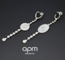 apm Monaco Statement Earrings silver-colored-natural white