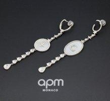 apm Monaco Zdobione kolczyki srebrny-w kolorze białej wełny
