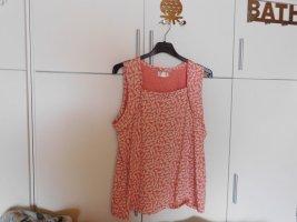 Collection L: Shirttop, Karree-Ausschnitt, Lachs-Ecru, Gr. 46