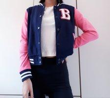 Forever 21 Chaqueta estilo universitario rosa-azul oscuro