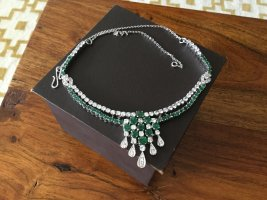 Collier Necklace forest green-silver-colored