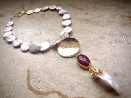 Collier Designer Barock Münzen Perlen Kette Anhänger Perlnugget Unikat