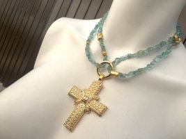 Necklace baby blue-gold-colored