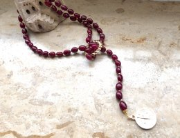 KCD Katecreativdesign Collier rouge carmin-doré
