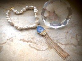 Collier Designer Luxus Barock Perlen Kette Anhänger Achat Unikat