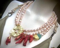 Collier Designer Luxus Barock Perlen Kette Koralle Aventurin
