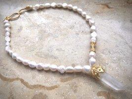 Collier Designer Perlen Kette Anhänger Kristall