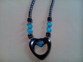 Collier Necklace light blue-black