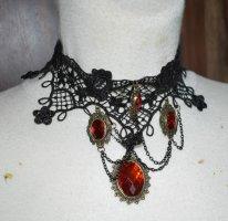 Collier, schwarze Spitze mit roten Steinen, Gothic