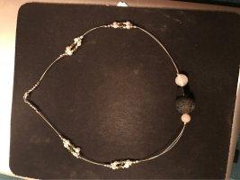 Collier Süßwasserperlen , Kristallkegeln , Lavaperle und matten Bergkristall Perlen  , und kleinen Silberperlen
