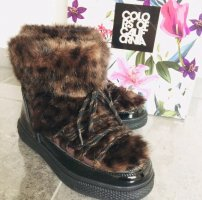 Colors Of California Snow-Boots Leoprint Lack Schwarz/Braun Neu