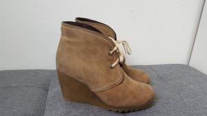 Comma Damen Stiefeletten Velour Echtleder Ankle Boots beige Größe 39
