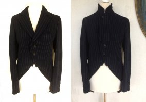 Comme des Garçons Blazer in lana nero-grigio chiaro Lana