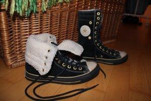 Converse Botas de nieve negro-blanco puro Gamuza
