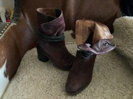 A.S.98 Halfhoge laarzen bordeaux-karmijn Leer
